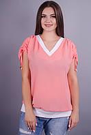Дениз. Нежная блуза больших размеров. Персик. только 52,54