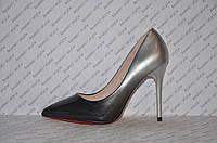 Туфли лодочки женские лаковые омбре на высокой шпильке черные+серебро