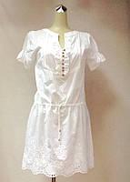 Платье - туника с вышивкой белая