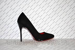 Туфли лодочки на шпильке  черные замшевые, фото 2