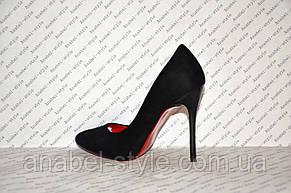 Туфли лодочки на шпильке  черные замшевые, фото 3