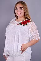 Квитка. Нарядная блуза супер батал. Белый.