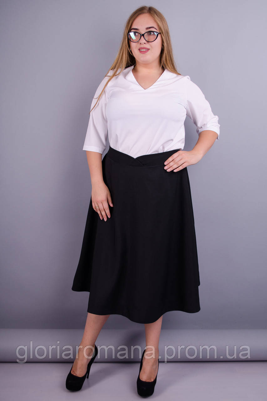 Мелани. Оригинальная юбка для офиса плюс сайз. Черный.
