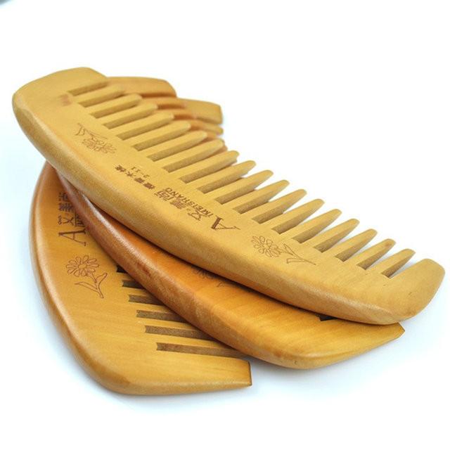 Гребень деревянный для волос из персика, фото 1