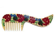 Красивая расческа для волос из дерева Петриковская роспись
