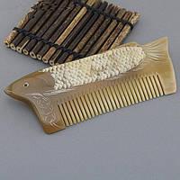 Красивый гребень для волос костяной Рыба