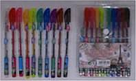 """Ручка гель набор 10 цветов L003-10 PVC """"Париж"""" с блеском и запахом уп12"""