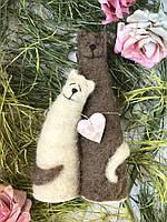 Котики- неразлучники 23 см Игрушка из шерсти