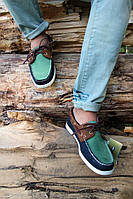 Мужские мокасины Sebago зелено-синие