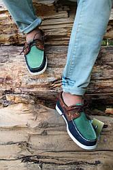 Мужские мокасины Sebago зелено-синие топ реплика
