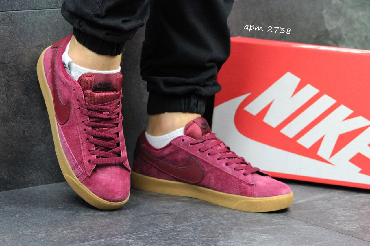 Кроссовки Nike SB замшевые,бордовые