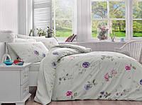 Двуспальное евро постельное белье TAC Bienna Blue Ранфорс