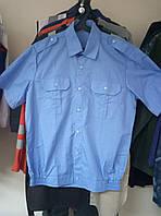 Рубашка форменная мужская с коротким рукавом,на резинке, голубая