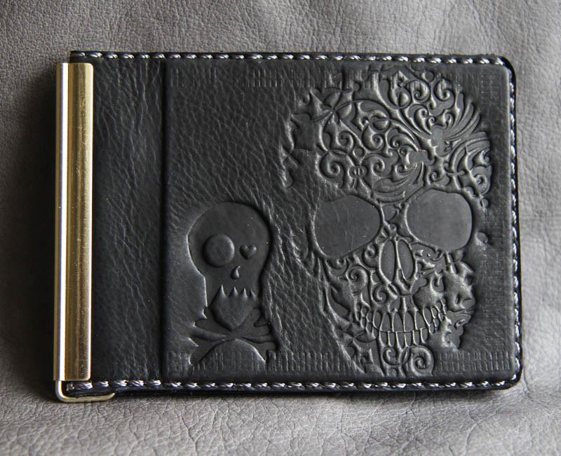 """Зажим для денег кожаный с карманом для мелочи и отделением для карт """"Черепок"""" (Guk). Цвет черный"""