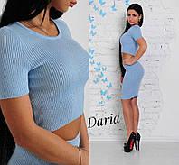Костюм женский модный топ и юбка карандаш вязка 3 цвета Kch525