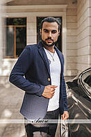 Пиджак на пуговицах, ткань букле.  Темно-синий,серый, темно серый. фото реал ввлад № 48-21