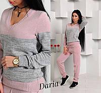 Костюм женский модный свитшот и брюки вязка разные расцветки Dch575