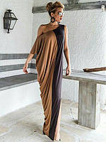Женское Длинное ПЛАТЬЕ  двухцветное с открытым плечём