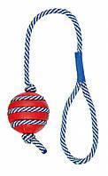 Мяч Trixie Toy with Phosphorescent Rope для собак резиновый, на светящемся канате, 5х40 см, фото 1