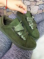 Кроссовки на шнурках-лентах, цвет -Зеленый , материал - экозамша, Польша