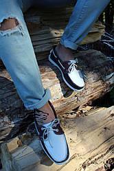 Мужские мокасины Sebago чёрно-белые