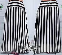 Штапельная юбка в пол полоска