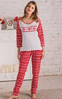"""Пижама с брюками женская """"Орнамент"""" домашний комплект женский хлопок (Украина)"""