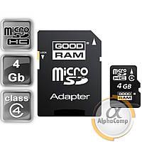 Карта памяти microSD 4Gb GOODRAM class 4 (M40A-0040R11) + SD адаптер