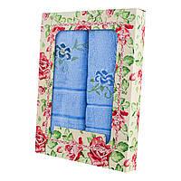 Голубой набор махровых полотенец Незабудка банное и 2 для лица