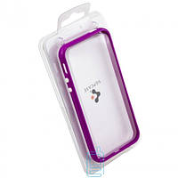 Чехол бампер для iPhone 4 пластик фиолетовый