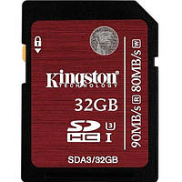 Flash карточка SD KINGSTON SDHC 32GB Class10 UHS-I U3 R90/W80MB/s (SDA3/32GB)