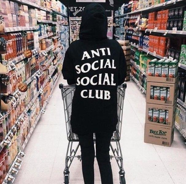 Худи Anti Social Social Club (Анти Сошал Сошал Клаб), белая надпись