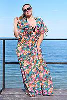 Женская пляжная шифоновая туника больших размером 50 узоров Палитра 1 цветов, принтом, тёмно-синий 54, Лето