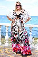 Женская пляжная шифоновая туника больших размером 50 узоров Палитра 1 цветов, принтом, тёмно-синий 56, Лето