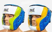 Шлем боксерский с полной защитой кожаный ELAST MA-011-L (синий-желт-белый, синий-салат-белый, р-р L-XL)