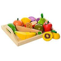 Игровой набор продукты 1070 на магнитах (деревянная игрушка продукты пазлы): 10 деталей + поднос