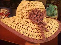 Пляжная шляпа связанная из украинской пряжи Етно-Коттон Вивчари