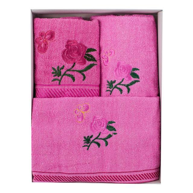 Розовый набор махровых полотенец Розы банное и 2 для лица