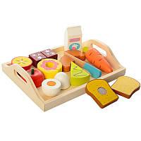 Игровой набор продукты 1071 на липучке (деревянная игрушка продукты пазлы): 10 деталей + поднос