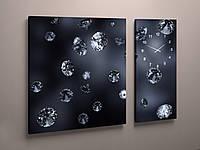 Модульная картина с часами Бриллианты