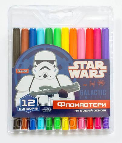"""Фломастеры """"STAR WARS - Звёздные войны"""" 12 цветов, ТМ """"1 Вересня"""", фото 2"""