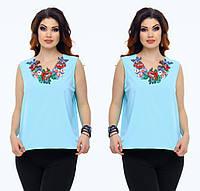 "Стильная блузка для пышных дам "" Цветы вышивка "" Dress Code, фото 1"