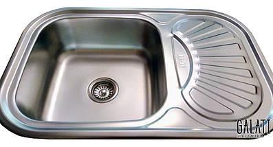 Мойка на кухню из нержавеющей стали (75*49*18 см) Galati Stelă Satin 8475, фото 2