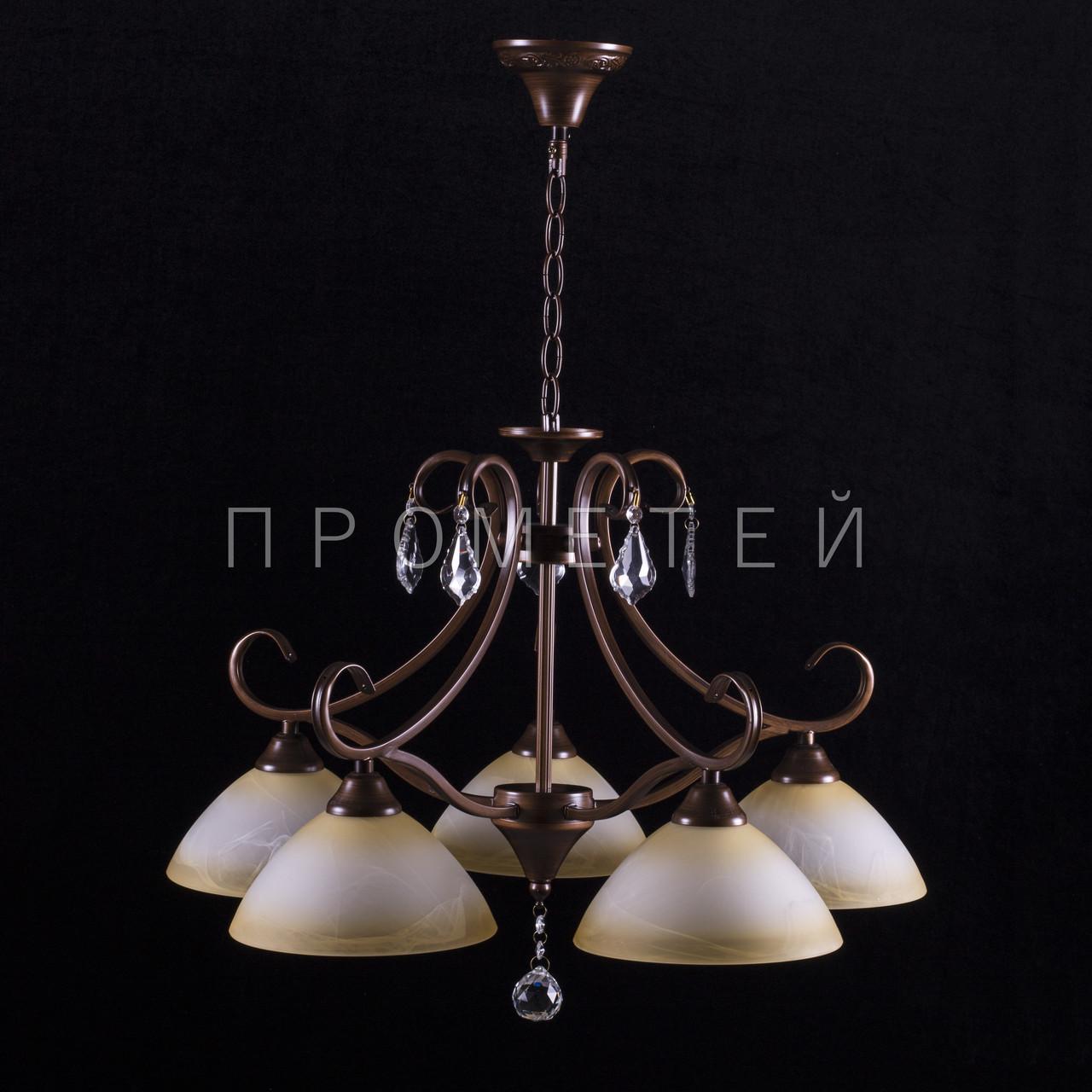Люстра на 5 лампочек (коричневый).P3-3747/5P/PG+BN