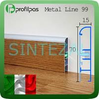 Алюминиевый плинтус с вставкой Profilpas Metal Line 99.