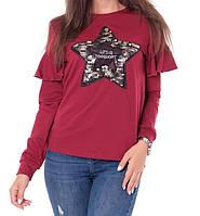 Батник с рюшами со звездой коттоновый женский (двунитка), фото 1