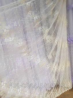 Тюль из фатина с вышивкой, код-82573