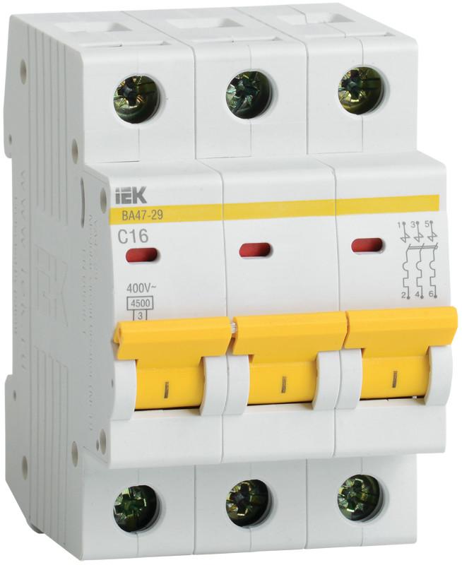 Автоматический выключатель ВА47-29 3Р 63А 4,5кА х-ка В ИЭК