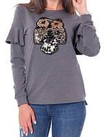 Батник с рюшами с совой коттоновый женский (двунитка), фото 1