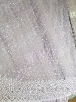 Тюль из фатина с вышивкой, код-1158